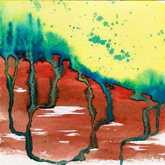 100 Days of Abstracts: 10/100 (alisonleighlilly) Tags: allabstracts the100dayproject abstract abstractart art watercolor painting landscape impressionist turquoise yellow rust red earth roots streams splatter square