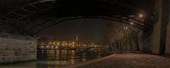Ratatouille (Aphélie) Tags: paris night eiffel tower seine bridge city orange yellow path