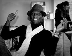 Youba (Phil*ippe) Tags: bombino youba blackwhite black white cigarette portrait thumbsup scarf hat smile concert vooruit ghent