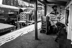 Yesterday's (Stuart.67) Tags: blackwhite nikon d800 train suitcases sd railway heritage trust somerset dorset midsomernorton south station snow