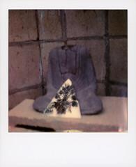 Headless Buddha 2 (tobysx70) Tags: polaroid originals color 600 instant film slr680 headless buddha vista del mar avenue beachwood canyon hollywood hills los angeles la california ca statue mirror palm tree reflection bokeh toby hancock photography