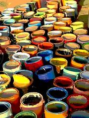 Paint Can Jamboree (moonjazz) Tags: paint color rainbow red blue cans art saltonsea salvationmountain variety orange yellow smogesboard moonjazz