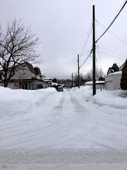 View West (sjrankin) Tags: 20february2019 edited snow weather winter snowbank kitahiroshima hokkaido japan hdr neighborhood houses road poles lines wires