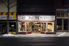 B&L Bicycles (Curtis Gregory Perry) Tags: pullman washington bicycle shop store bike cycle cycling bl sign marquee storefront night longexposure nikon d810 snow
