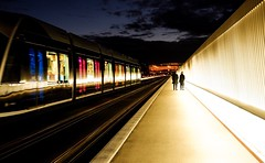 Lux tram 🚋 (joannab_photos) Tags: bridge walkers colors night luxtram tramway luxembourg