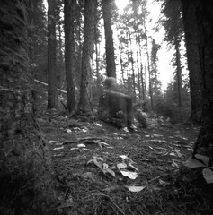 ghost of days gone by (facenorth) Tags: zeroimage2000 rolleirpx25 mediumformat blackandwhite bw pinhole pinholephotography selfdeveloped scan negative kodakhc110 longexposure milf manilovefilm autumn fall peoplethroughpinhole