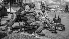 Thre boys on a bench at Slussen in Stockholm, Sweden  11/8 2016. (photoola) Tags: stockholm slussen bänk street sv bench photoola monochrome blackandwhite