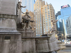 2019 USS Maine Monument Columbus Circle NYC 2283 (Brechtbug) Tags: uss maine monument 1913 beaux arts commemorate controversial sinking battleship 1898 the ship has sculpted representations mythological figures victory peace courage fortitude justice central park entrance nyc 02192019 new york city arms wrapping around rock statue sculpture february 2019 columbus circle