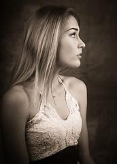Elisa B (Nihat Alacahan) Tags: woman girl studio light pentax bowens beautiful face look regard sepia visage profil bw portrait