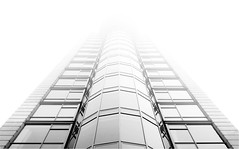 High-Rise in Fog (HereInVancouver) Tags: building fog disappearing city urban condo skyscraper bw blackandwhite monochrome vancouverswestend canong3x vancouver bc canada