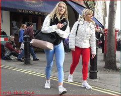 `2553 (roll the dice) Tags: london westminster westend streetphotography pretty sexy girls mad fun funny happy smile reaction people fashion shops shopping urban unaware unknown england uk classic art portrait strangers candid angle view canon tourism tourists colour lights weather sunny dark tight cameltoe leggings fit blonde bollards pub boozer wc2 coventgarden tree mobile phone talk help legs surreal bulge walk gym