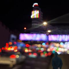En círculos. / In circles. (Oscar Martín Antón) Tags: navidad christmas colour color night noche bokeh desenfoque conceptual art creative melancolia melancholy simbolismo symbolism creatividad madrid callao neon luz schweppes streetphotography street calle cars callejero coche city ciudad granvia