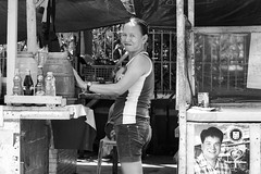 Drinks Vendor (Beegee49) Tags: street drinks stand filipina smiling black white monochrome bw happy planet sony a6000 luminar silay city philippines asia happyplanet asiafavorites