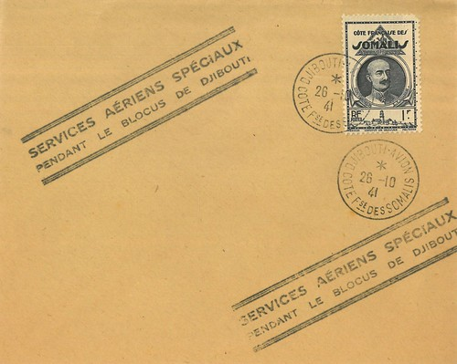 1941 Air France Proof Envelope from Djibouti to Marignane, via Athens, front, #01