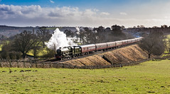 Finally the sun, the S&C, and a green Jubilee .... (inspiring.images) Tags: 45596 bahamas jubilee class steam train railway line settle carlisle appleby westmorland cumbria west coast sc