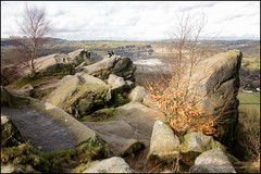 Don't jump! (G. Postlethwaite esq.) Tags: blackrocks derbyshire unlimitedphotos clouds drystonewall fields grass landscape man outdoor person photoborder quarry rocks sky trees