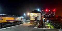 Crew change under the stars (robmcrorie) Tags: 66164 par station bow burngullow sand train nikon d850 crew change signal box semaphore