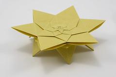 Lucky Star Fractal (open back) (Michał Kosmulski) Tags: origami tessellation star sun flower fractal table selfsimilarity michałkosmulski haligamihalinarościszewskanarloch shuzofujimoto edokosomepaper hana yellow