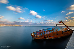 Shipwreck Towboat Posidon (Epaminondas M) Tags: shipwreck towboat boat tub sky clouds cloud cloudporn canon canon5d nd500 view landscape sea water blue greece tug rust longexposure