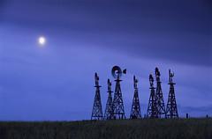 Windmills in Nebraska (JC Richardson) Tags: greatplains midwest prairie plains windmill nebraska ranch evening moon