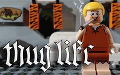 Barney Rubble: Thug Life (woodrowvillage) Tags: lego legos thug life barney flintstones flintstoned comedy brick film stop motion animation