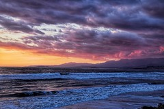 Clouds (Winnie02) Tags: moon love beach reflection mountains water sky sand romantic sun night waves ocean clouds sunset