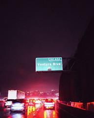 Entering the Valley (ThisIsMorgan) Tags: 405 losangeles freeway night nightphotography nightstudies nighttime nightshot storm rain fujifilm