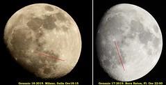 Luna - Confronto tra Milano (latitudine  45° 28' N) e Boca Raton, Florida (26° 21' N) (Franz Maniago) Tags: luna florida bocaraton milano
