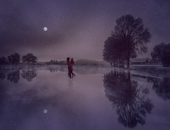Lovers in Night (*AdeCo*) Tags: lovers couple romantic valentinesday winter ice sea frozen landscape fantasy love trees stars starrysky mystic fairytale nature night nightlight moonshine beautiful