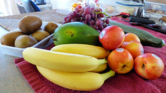 I've been shopping today (Sandy Austin) Tags: panasoniclumixdmcfz70 sandyaustin westauckland auckland fruit northisland newzealand bananas nectarines grapes kiwifruit cucumber