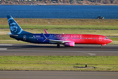 Red Pink & Blue (planephotoman) Tags: boeing 737 739 737900 737990 737990wl n493as alaskaairlines moretolove speciallivery porlandinternationalairport pdx kpdx