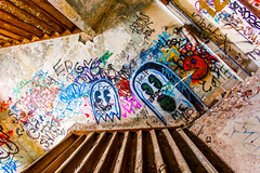 Do You Take Me For Such a Fool To Think I'd Make Contact (Thomas Hawk) Tags: corktown detroit mcs michigan michigancentraldepot michigancentralstation usa unitedstates unitedstatesofamerica abandoned graffiti stairs stairway fav10