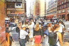The Frenzy of a New York Morning (Eclectic Jack) Tags: ddg generator dream deep processing processed process post manipulated new york newyork street people photography candid crowd crowded king health
