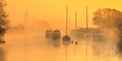 Misty Morning (Nick L) Tags: landscape harbour wareham dorsetmisty dorset uk bouys frome riverfrome dawn yachts boats water river eos canon 50d mist
