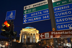 Signs at night (Thomas Roland) Tags: street gade skilt skilte skilteskov sign signs road church kirke chiesa gran madre di dio europe travel efterår autumn herbst 2018 nikon d7000 europa city by torino turin tourists tourism tourist italy italia italien rejse dusk aften evening river flod po water reflection spejl mirror bridge bro