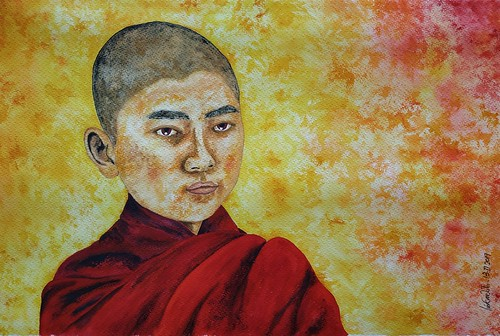 Young Buddhist Monk Watercolour