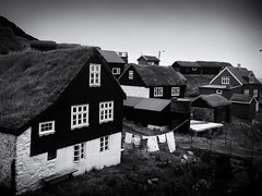 Washing Line, Mykines (Feldore) Tags: faroe faroeislands fjord mykines brooding clothes drying grass grassroofed house islands ominous roof roofed sky sod traditional turf