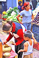 Tortilla Break (28 July 2007) (Carl Campbell) Tags: modifiedphotograph creativeartphotography querétaro mexico people mercado market