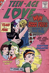Teen-Age Love #8 (1959), cover by Vince Colletta and Jon D'Agostino (gameraboy) Tags: teenagelove 8 1959 vincecolletta jondagostino 1950s comics comic comicbook art illustration vintage romance romancecomics kiss kissing woman