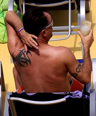 people on cruise pool deck (miosoleegrant2) Tags: ship deck cruise vacation sea pool swim bare chest swimsuit swimwear sunning male men hunk muscle masculine pecs torso guy chested buzz armpits hairy nipples abs navel outdoor water swimming sport husky burly strapping brawny speedo people belly