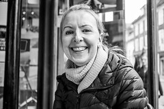 Happiness (daveseargeant) Tags: portrait monochrome white black street cafe coffee shop leica x typ 113 medway rochester