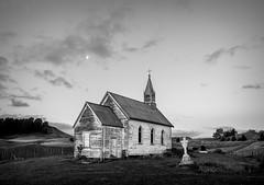 Opaea Moon (ajecaldwell11) Tags: cemetery xe3 graveyard sky newzealand sunset ankh church manawatu dusk opaeachurch moon clouds caldwell fujifilm light