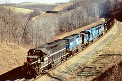 (SEE & HEAR)---MGA 2002, Sycamore, PA. 2-13-1990 (jackdk) Tags: train railroad railway locomotive emd emdgp38 emdgp382 gp38 gp402 mga monongahela monongahelarailway cr conrail coal coaltrain coaldrag manor manorbranch sycamore sycamorepa hopper hoppertrain fallenflag seeandhear seehear standardcab baileymine