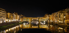 Ponte Vecchio at Night, Florence, Italy (Epaminondas M) Tags: firenze tuscany colors bridge reflection florence italy pontevecchio europe river lights architecture night nightscape canon photography landscape