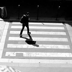 Sideways (pascalcolin1) Tags: paris13 homme man passagepiéton crosswalk sideways travers lumière light ombre shadow photoderue streetview urbanarte noiretblanc blackandwhite photopascalcolin 50mm canon50mm canon