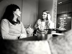 Tea for two (jernej.cucek) Tags: portrait woman man person people bw monochrome street art streetart timeless time shadow black light white blackandwhite coffee shop