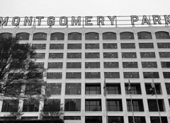 South Baltimore ~ Montgomery Park (karma (Karen)) Tags: baltimore maryland montgomerypark officebuilding warehousereuse oldmontgomerywards windows walls signs bw mono iphone nrhp topf25 cmwd