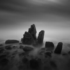 TOMBSTONES (www.neilburnell.com) Tags: fine art fineart mono monochrome sea seascape long exposure longexposure moody mood atmospheric atmosphere