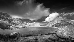 llyn Idwal (Bridgewater Photography) Tags: canon6d ef1740mmf4lusm landscape nature mountains panorama noperson rocks wales canon wild monochrome beautiful uk eos6d scenic lake outdoors clouds bw rock blackwhite llynidwal betwsycoed unitedkingdom gb