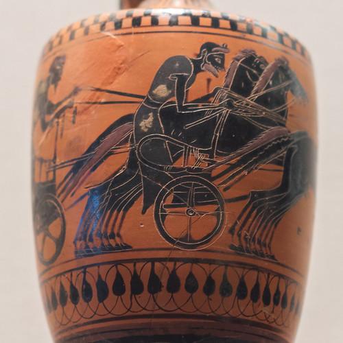Athenian Black Figure lekythos with chariot racing